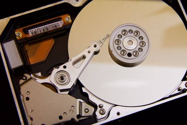 Hard disk inside view
