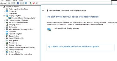 Change Windows 10 Microsoft Basic Display Adapter To Current Graphics Adapter